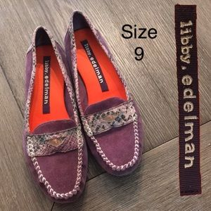 Libby Edelman Plum Suede Penny Loafers Size 9